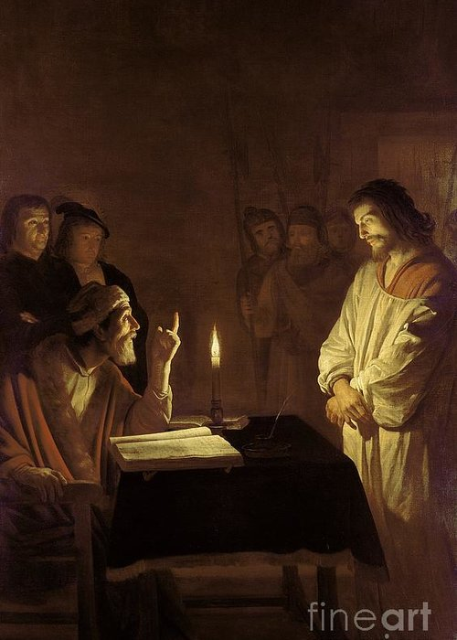 Christ Greeting Card featuring the painting Christ Before The High Priest by Gerrit van Honthorst