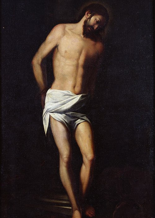 Jesus Greeting Card featuring the painting Christ Bound To The Column by Alonso Cano