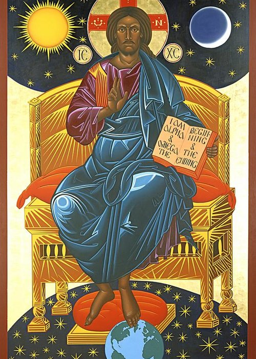 Christ Greeting Card featuring the painting Christ Enthroned Icon by Mark Dukes