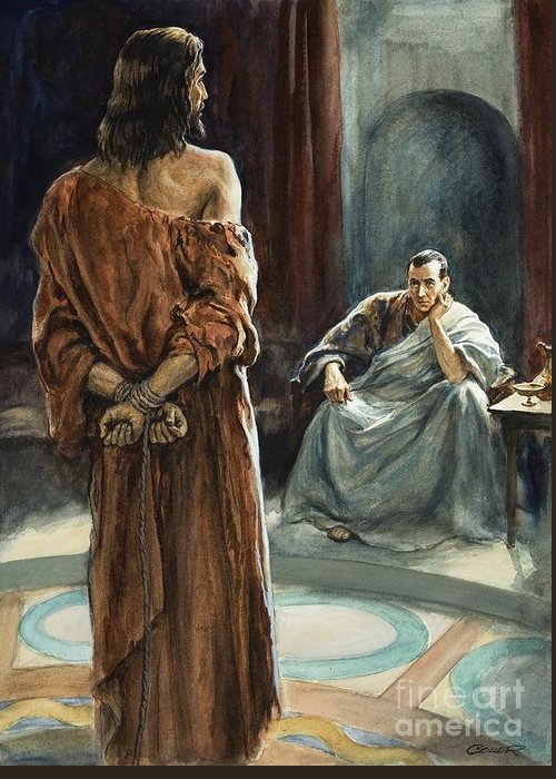 Christ; Pilate; Trial; Roman; Toga; Governor; Bible; Jesus; Rome Greeting Card featuring the painting Christ In Front Of Pontius Pilate by Henry Coller