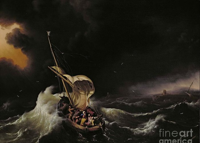 Seascape Greeting Card featuring the painting Christ In The Storm On The Sea Of Galilee by Ludolph Backhuysen