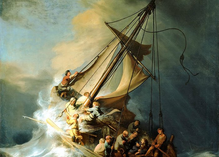 Christ In Storm Greeting Card featuring the painting Christ In The Storm by Rembrandt