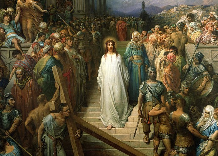 Christ Leaves His Trial Greeting Card featuring the painting Christ Leaves His Trial by Gustave Dore