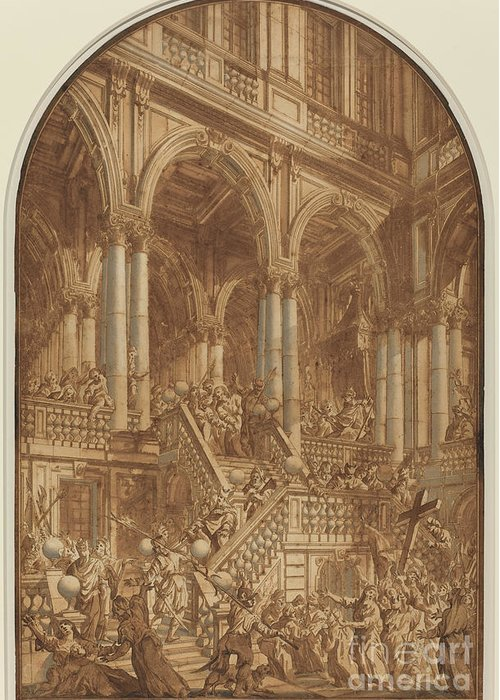 Greeting Card featuring the drawing Christ Led Captive From A Palace by Giuseppe Galli Bibiena
