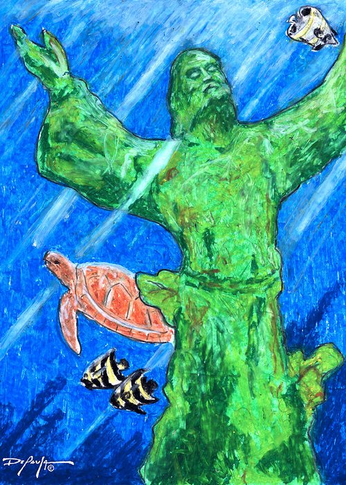 Christ Of The Deep Greeting Card featuring the mixed media Christ Of The Deep by William Depaula