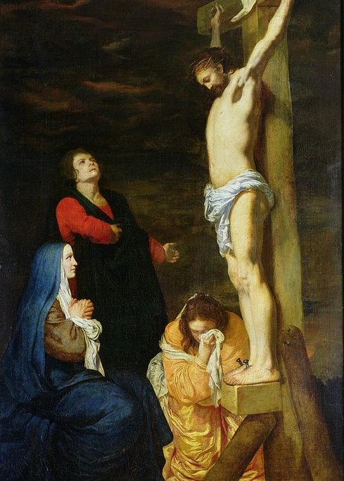 Christ Greeting Card featuring the painting Christ On The Cross by Gerard de Lairesse