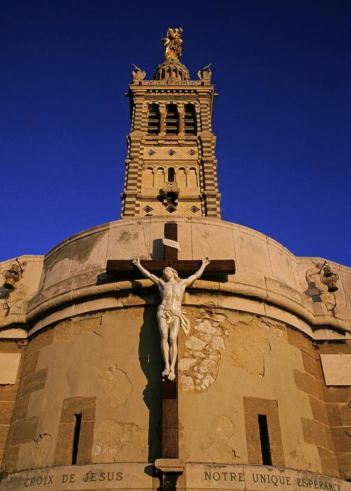 Architectural Greeting Card featuring the photograph Christ On The Cross Outside The Nortre Dame De La Garde by Sami Sarkis