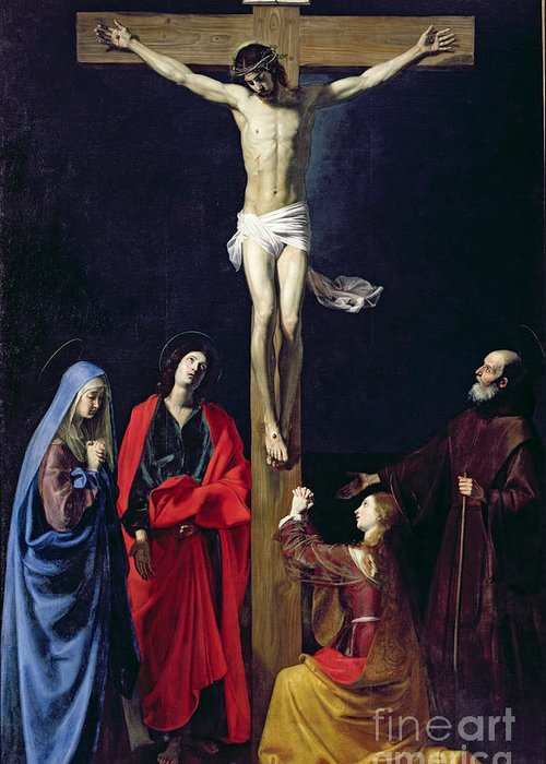 Christ Greeting Card featuring the painting Christ On The Cross With The Virgin Mary Magdalene St John And St Francis Of Paola by Nicolas Tournier