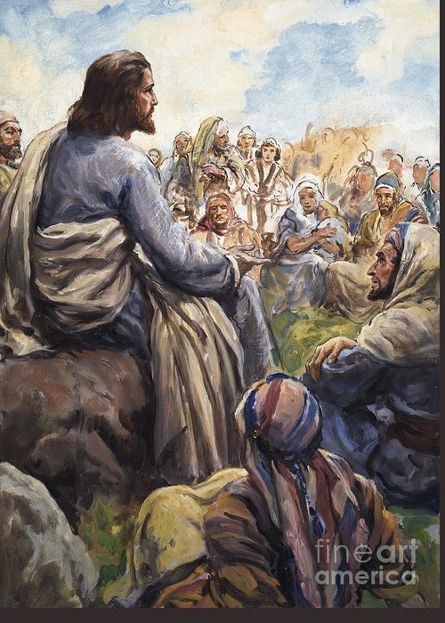 Christ; Jesus; Teaching; Disciples; Stone; Attentive; Children; Men; Women; Bible; Biblical Greeting Card featuring the painting Christ Teaching by English School