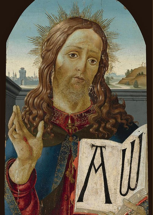 Studio Of Sandro Botticelli Greeting Card featuring the painting Christ The Redeemer Blessing by Studio of Sandro Botticelli