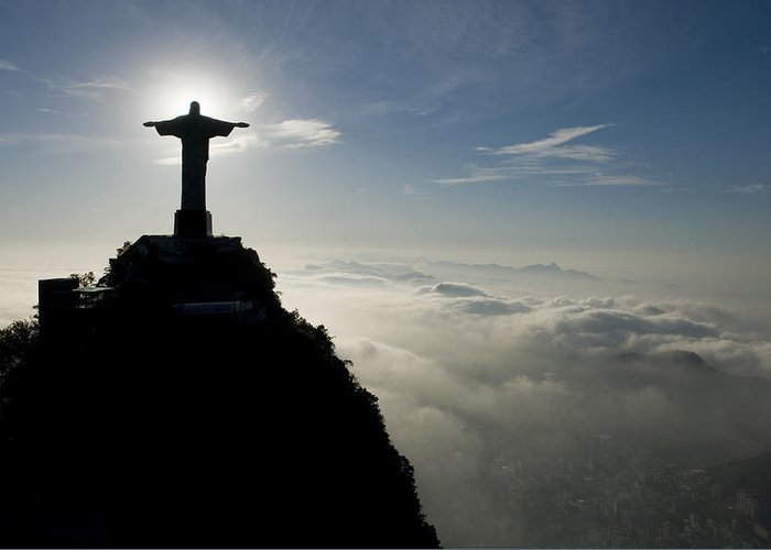 Outdoors Greeting Card featuring the photograph Christ The Redeemer Statue At Sunrise by Joel Sartore
