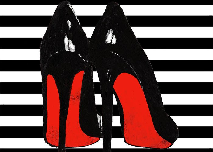 f2e7b121f767 Christian Louboutin Shoes Greeting Card featuring the painting Christian  Louboutin Shoes Black by Del Art