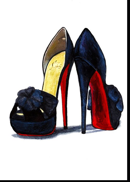 best loved ddec4 02b3e Christian Louboutin Shoes Black Red Painting Greeting Card