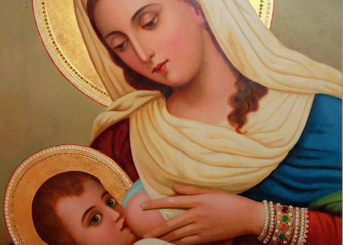 Christianity Greeting Card featuring the painting Christianity - Baby Jesus by Munir Alawi