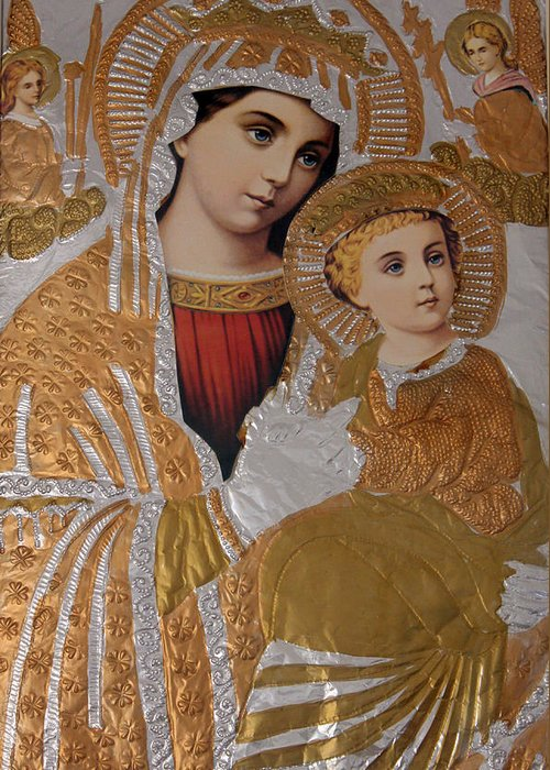 Christians Greeting Card featuring the photograph Christianity - Mary And Jesus by Munir Alawi