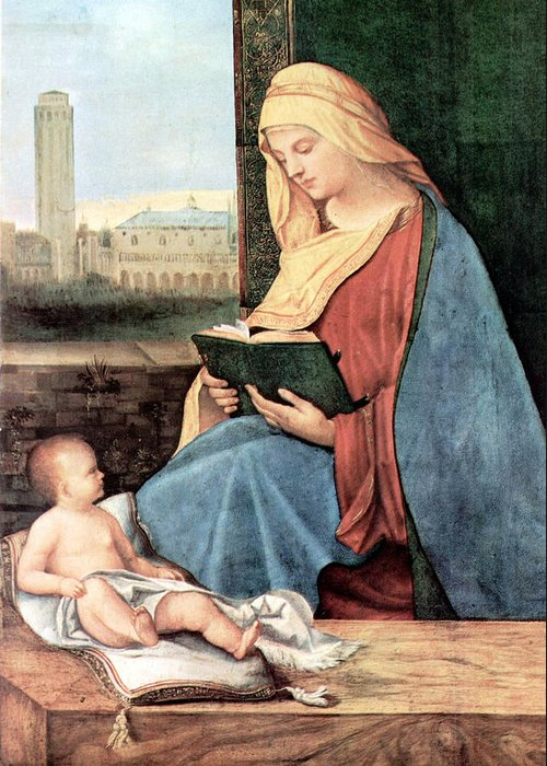 Mary Greeting Card featuring the photograph Christianity - Reading Time by Munir Alawi