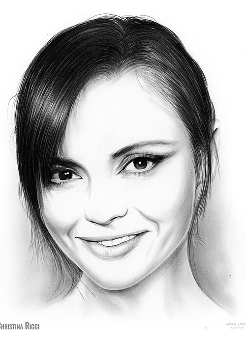 Pencil Sketch Of Christina Ricci Greeting Card featuring the drawing Christina Ricci by Greg Joens