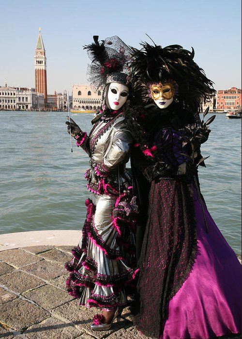 Venice Greeting Card featuring the photograph Christine And Gunilla Across St. Mark's by Donna Corless