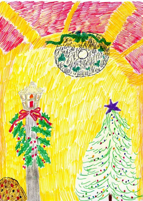Christmas Greeting Card featuring the drawing Christmas Abstract 2 by Rosemary Mazzulla