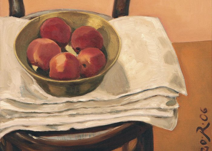Still-life Apples Chair Red Yellow Gold Greeting Card featuring the painting Christmas Apples by Raimonda Jatkeviciute-Kasparaviciene
