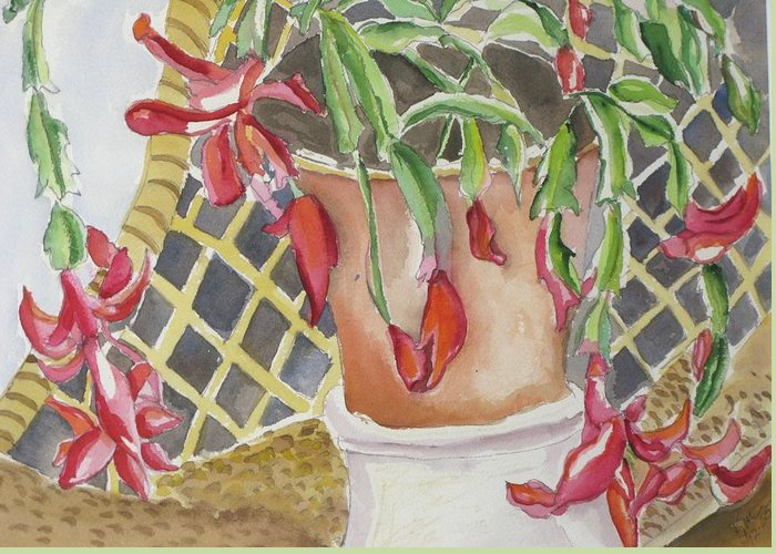 Still Life Greeting Card featuring the painting Christmas Cactus by Kathy Mitchell