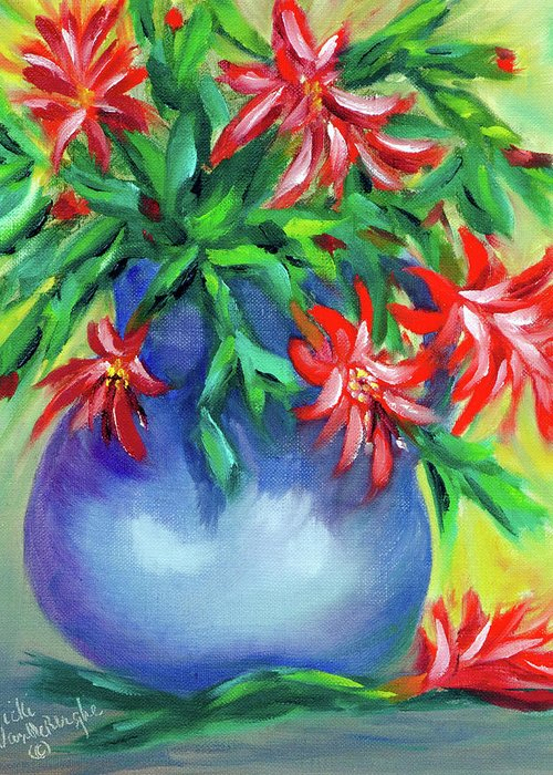 Christmas Cactus Greeting Card featuring the painting Christmas Cactus by Vicki VanDeBerghe