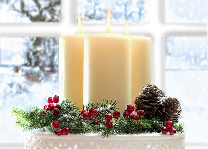 Christmas Greeting Card featuring the photograph Christmas Candles Display by Amanda Elwell