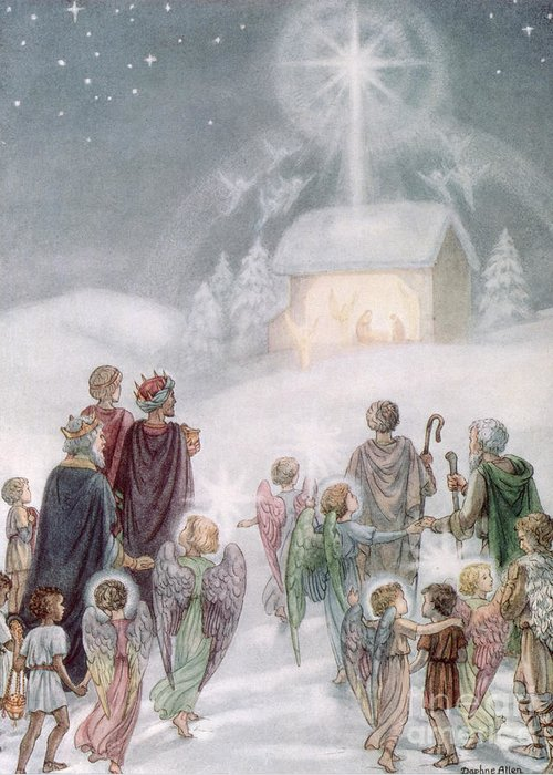 Angels; Nativity; Star; Three; Kings; Wings; Bethlehem Greeting Card featuring the painting Christmas Card by Daphne Allan