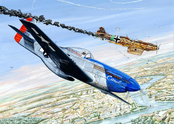 P-51 Mustang Greeting Card featuring the painting Christmas Carol by Charles Taylor