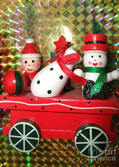 Red Greeting Card featuring the photograph Christmas Cart by Deborah Brewer
