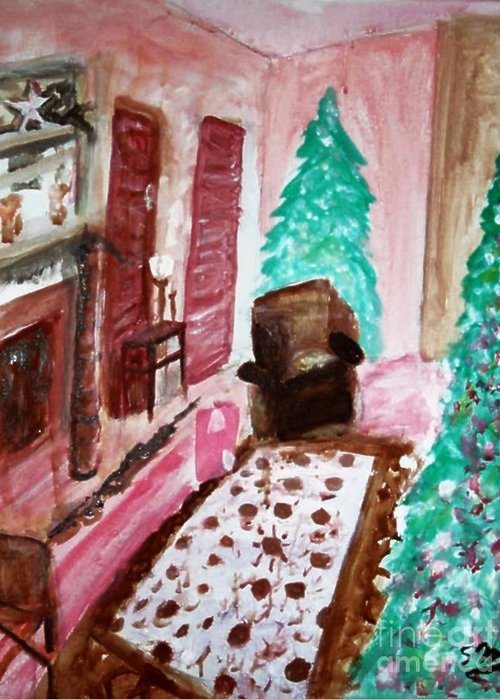 Christmas Greeting Card featuring the painting Christmas Cheer by Stanley Morganstein