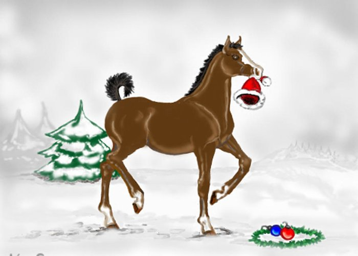 Christmas Greeting Card featuring the painting Christmas Colt by Kim Souza