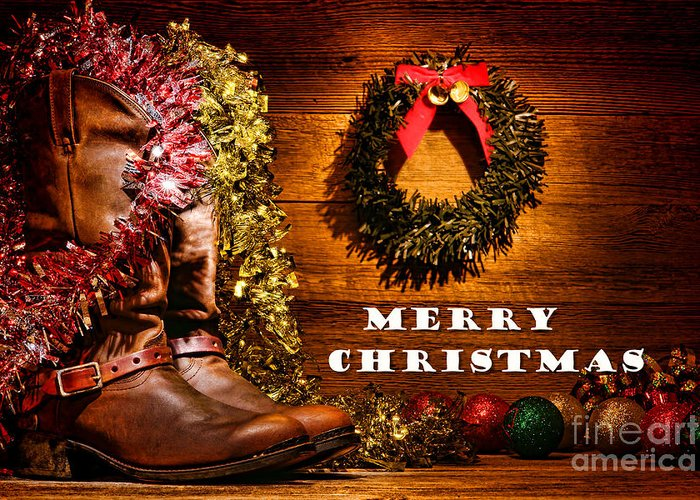 Christmas Wishes Card.Christmas Cowboy Boots Merry Christmas Greeting Card