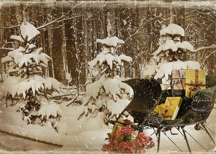 Christmas Greeting Card featuring the mixed media Christmas Delivery by Maria Dryfhout