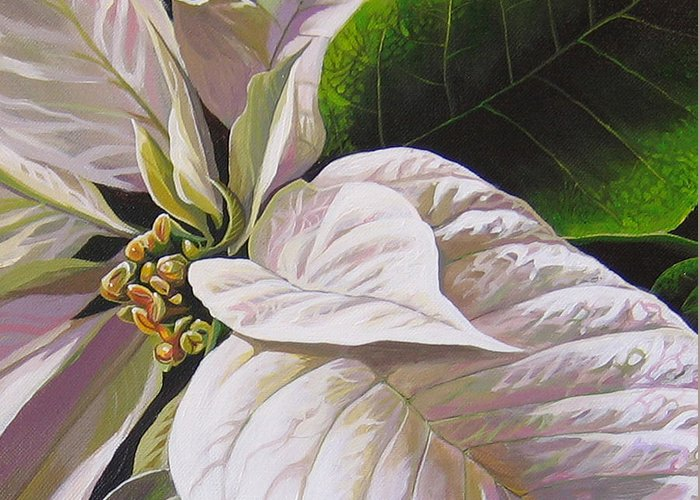 White Poinsettia Greeting Card featuring the painting Christmas Eve by Hunter Jay