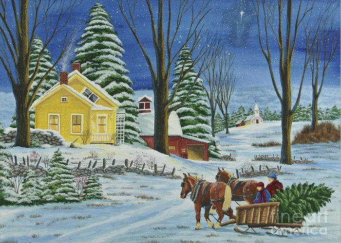 Winter Scene Paintings Greeting Card featuring the painting Christmas Eve In The Country by Charlotte Blanchard