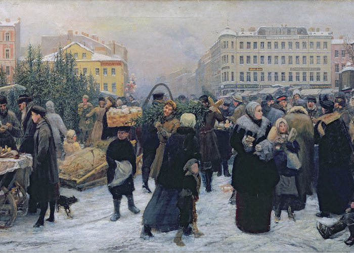 Christmas Greeting Card featuring the painting Christmas Fair by Heinrich Matvejevich Maniser
