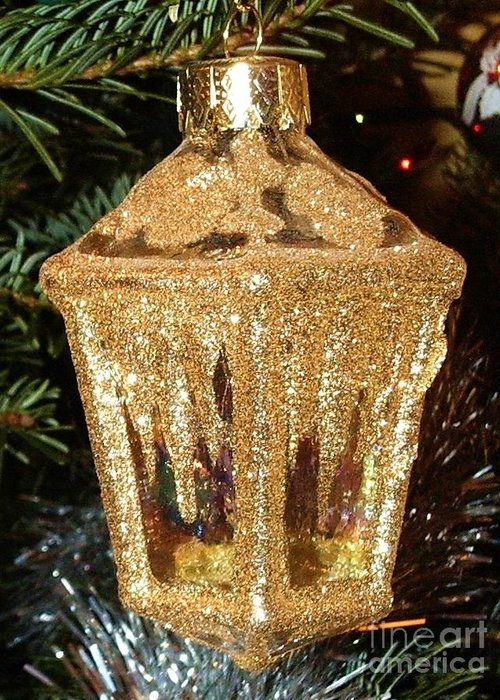 Christmas Greeting Card featuring the photograph Christmas Golden Lantern by Deborah Brewer