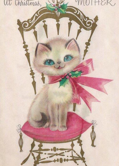 Kitten Christmas Cards.Christmas Greetings 1310 Vintage Christmas Cards Cute Kitten Greeting Card