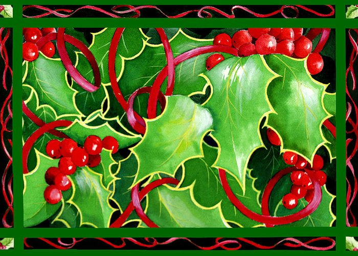 Christmas Greeting Card featuring the painting Christmas Holly And Berries by Janis Grau