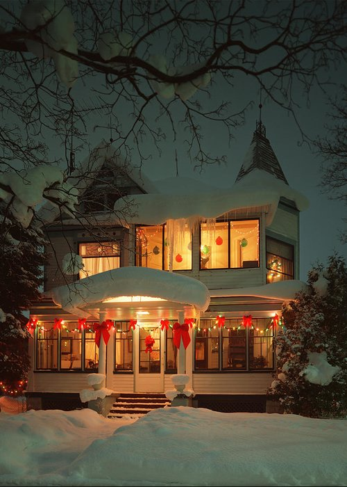 Christmas House Greeting Card featuring the photograph Christmas House by James Rasmusson