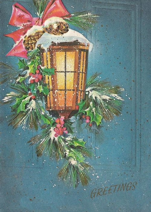 Christmas Illustration 1386 , Vintage Christmas Cards , Candle On Lamp  Greeting Card