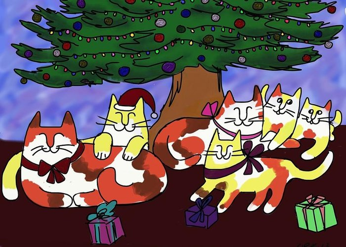 This Cat Family Enjoys A Simple And Happy Christmas Under Their Tree. Greeting Card featuring the digital art Christmas Kitties by Connie Kottmann