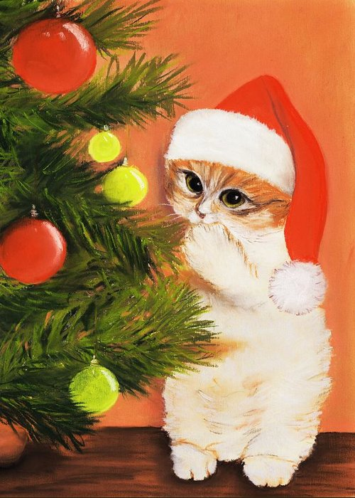 Malakhova Greeting Card featuring the painting Christmas Kitty by Anastasiya Malakhova