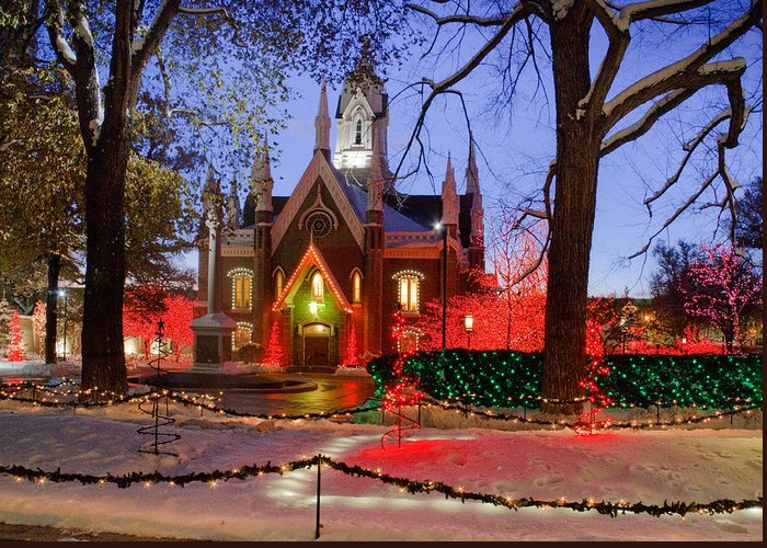 Christmas Greeting Card featuring the photograph Christmas Lights At Temple Square by Utah Images