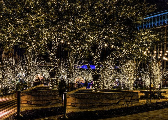 San Jacinto Plaza Greeting Card featuring the photograph Christmas Lights by Subhadra Burugula