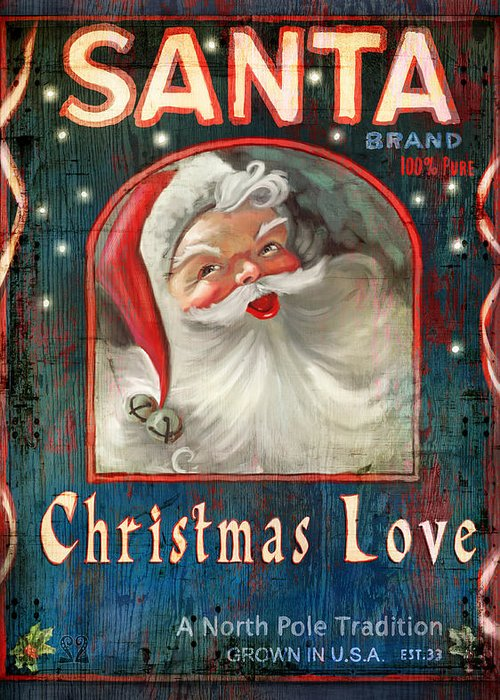 Santa Greeting Card featuring the painting Christmas Love by Joel Payne