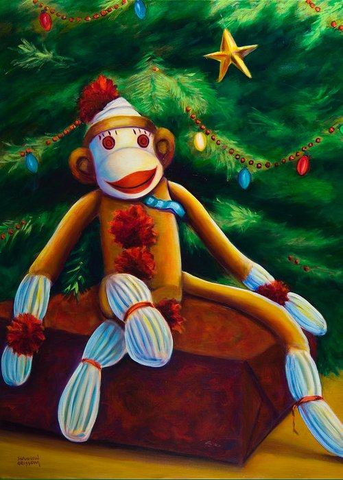 Sock Monkey Greeting Card featuring the painting Christmas Made Of Sockies by Shannon Grissom