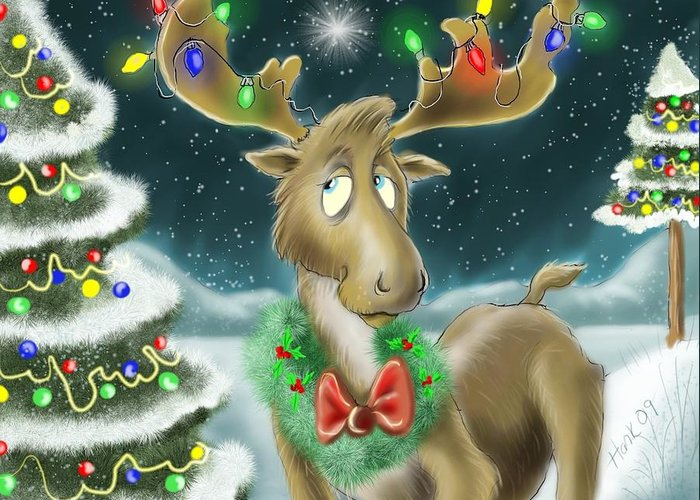 Childrens Art Greeting Card featuring the drawing Christmas Moose by Hank Nunes