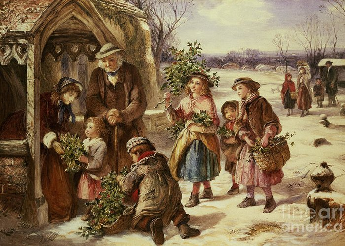 Holly Greeting Card featuring the painting Christmas Morning by Thomas Falcon Marshall